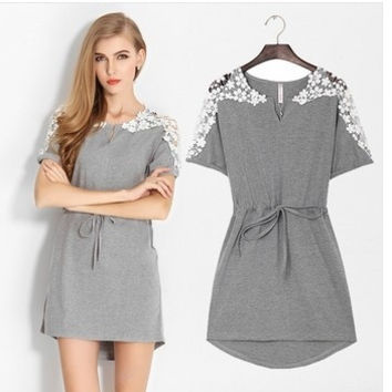 Women summer dress plus size XXXL 4XL, gray and white woman dress short sleeve cotton dress o-neck irregular casual dress = 1958335684