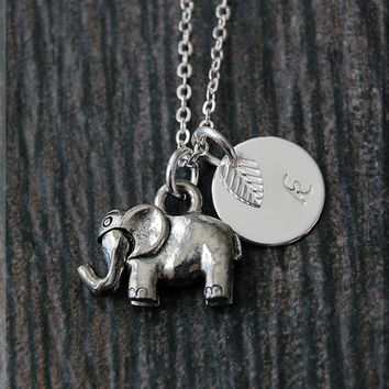 Silver Elephant Necklace, Initial Charm Necklace, Personalized Necklace, Lucky Elephant Charm Necklace, Articulating Trunk Elephant pendant,
