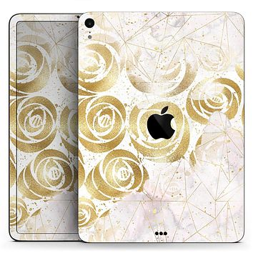 """Karamfila Watercolor & Gold V14 - Full Body Skin Decal for the Apple iPad Pro 12.9"""", 11"""", 10.5"""", 9.7"""", Air or Mini (All Models Available)"""