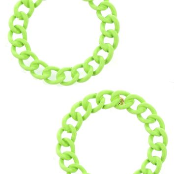 Green Colored Metal Large Chain Ring Earring