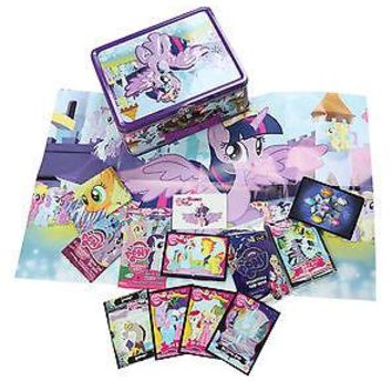 Licensed cool NEW My Little PONY Twilight Sparkle Metal Lunch Tin Box + 35 ITEMS Trading Cards