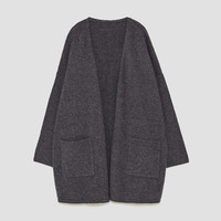 OVERSIZED CASHMERE JACKET WITH POCKETS DETAILS