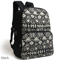 CrazyPomelo Street Style Geometric Pattern Canvas Backpack Laptop Bag (Black)