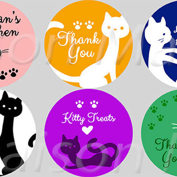 "Cat Lovers Stickers Labels - 2"" & 2.5"" round tags"