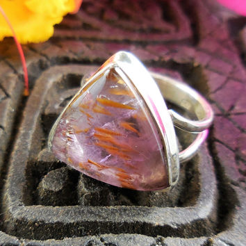 Cacoxenite Mineral Sterling Silver Ring - Size 6