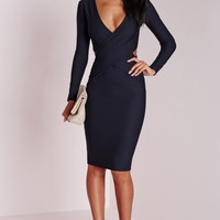 Missguided - Cut Out Bodycon Dress Navy