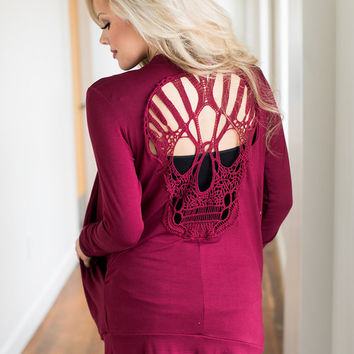 Skull Back Cardigan Burgundy