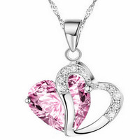 Crystal Heart Pendant Chain Necklace 9 Colors Fashion Jewelry