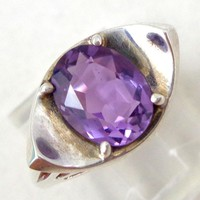 Estate Modern Deco Amethyst Sterling Silver Ring Sz 6