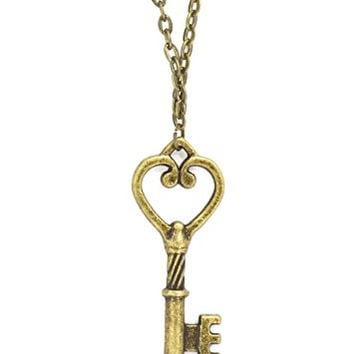 Heart Skeleton Key Necklace Antique Gold Tone Pendant NQ28 Fashion Jewelry
