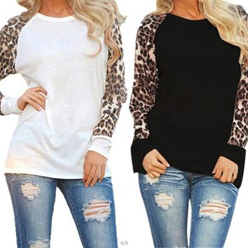 Scoop Long Sleeves Leopard Grain Loose Patchwork Blouse