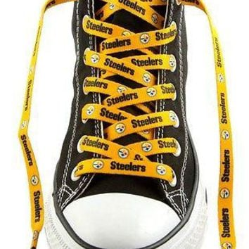 "NFL Pittsburgh Steelers Logo Colors 54"" Shoe Laces One Pair Lace Ups"