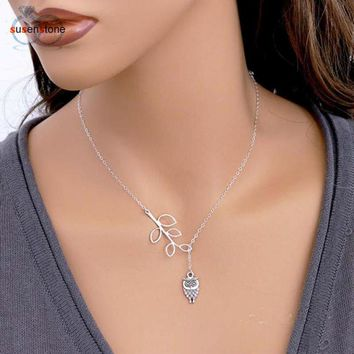 Simple Little Owl Leaves Tassels Chain Alloy Necklace