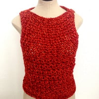 FREE USA shipping. Crochet Sleeveless Sweater. Women's Winter Blouse. Ready to ship
