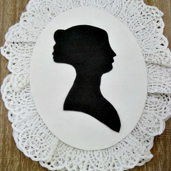 Victorian Cameo Paper Craft/Embelishment/Adornment - Set of Two