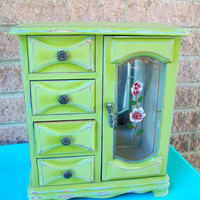 Green Jewelry Box Shabby Chic Green & Blue Storage Chest