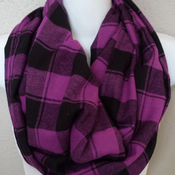 Fuscia & Black Plaid Infinity Scarf Buffalo Plaid Flannel Chunky Fall Scarf Womens or Girls Plaid Scarves Purple Plaid Scarf Fall Infinity