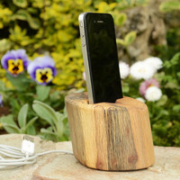 Recycled wood iPhone Docking station Wooden iPhone Charging station Wooden iPhone stand