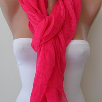 Pink Scarf - Tulle Fabric - Seamless Shawl