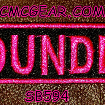 FOUNDER Pink on Black Small Badge Patch for Vest jacket SB594