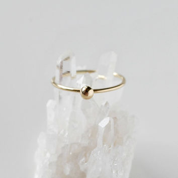 14K Yellow Gold Grain of Sand Ring - 14K Solid Gold Dainty Minimalist Modern Jewelry