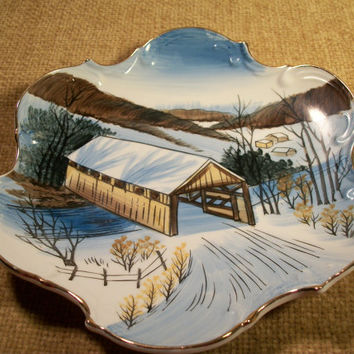 Hand Painted Covered Bridge Winter Scene Norcrest Fine China Wall Plate Mid-Century Home Decor