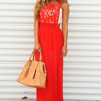 Destined For Love Maxi Dress: Red/Cream
