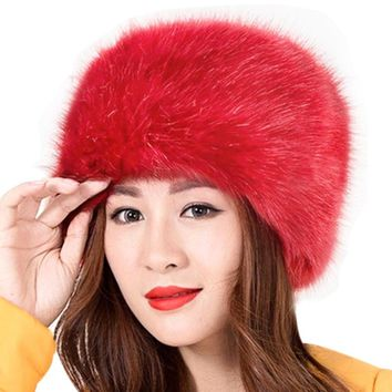 New Women Winter Warm Soft Fluffy Faux Fur Hat Russian Cossack Beanies Cap Ladies Hats