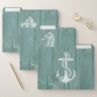Beach Sea Wood Aqua Rustic File Folders