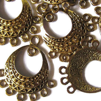 Earring Findings Goldtone Chandelier Jewellery Components 10 Pcs Hardware Parts Accessories Dangle Pendant Antique Style Boho Jewelry