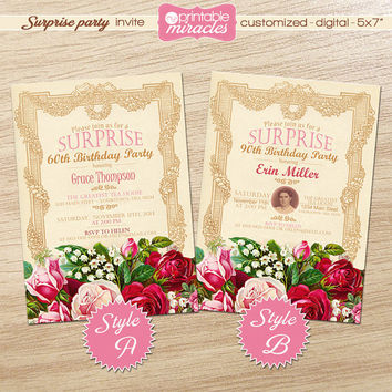 Floral surprise birthday invitation, Rustic milestone birthday party invitation, Printable adult photo invitation, Custom roses invite