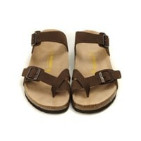 Cheap Birkenstock Mayari Sandals Unisex Fashion Birko-Flor Slippers (Chocolate) on sale!!!