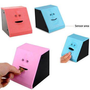 New Face Bank Sensor Funny Toys Box Gift can Piggy Bank Coin Chew Money Eating