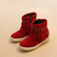 Winter Children Shoes Dr Martens Stylish Rivet Tassels Cotton Boots [4919714436]