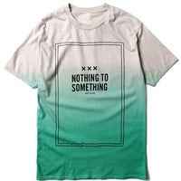 Green Color Block Nothing to Something Faded T-shirt