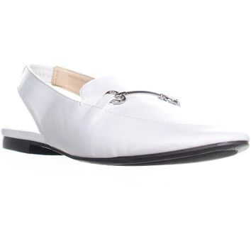 B35 Opel Slip On Slingback Penny Loafers, Bright White, 8 US