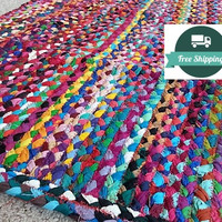 Braided Bright Cotton Rag Rug Bathroom Kitchen or Welcome Mat, Area Rugs, Carpet, Vegan Eco Friendly Non Treated Nap Mat, FREE US Shipping