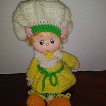 vintage strawberry shortcake crochet lemon meringue baby doll plush