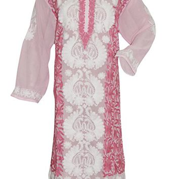 Women's Tunic dress - Pink Floral Embroidered Georgette Indie Caftan Dress xxxL