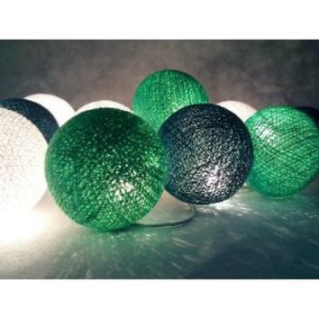 I Love Handicraft Green Tone Color Set Cotton Ball String Lights Patio Wedding and Party Decoration (20 Balls/set)