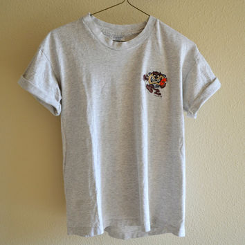 Gray Tasmanian Devil Football Tee Oversized 90s Vintage L