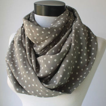 grey star scarf,infinity scarf, scarf, scarves, long scarf, loop scarf, gift