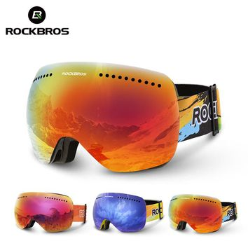 ROCKBROS Double Lenses Ski Goggles UV 400 Snowboard Skiing Glasses Men Big Mask Women Snowboarding Goggles Layers Eyewear Motor