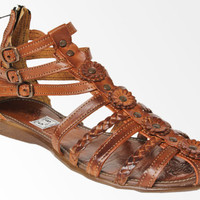 Soft 100% Genuine Leather Authentic Huaraches Brown Flowers Strappy Sandals