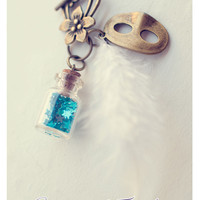 White Feather and stars glass Bottle necklace CUSTOM STARS by Vhea