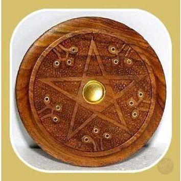 Wooden Pentagram  Incense Ash Catcher