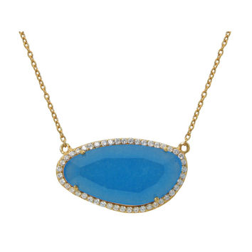 "Fronay Co Gold Plated Sterling Silver Turquoise Slice Stone Pendant Necklace, 16"" + Extension"
