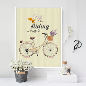 Vintage Retro Flower Bike Bicycle Typography Quotes Art Print Poster Rural Wall Picture Canvas Painting No Frame Girl Room Decor