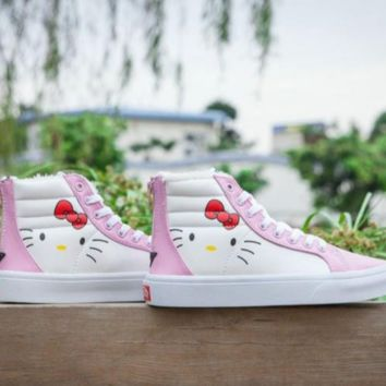 Vance's & Hello Kitty new fashion women cat zipper print shoes high canvas shoes Pink