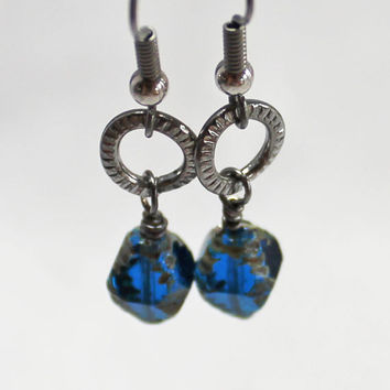 Capri Blue Czech Glass Bead and Gunmetal Earrings - Picasso Czech Glass Earrings